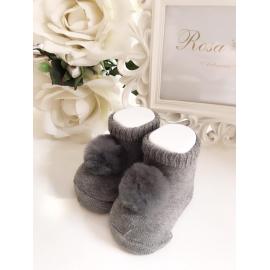 Patuco calcetín pompón GRIS