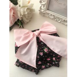 Braguita de flores con lazote XXL rosa
