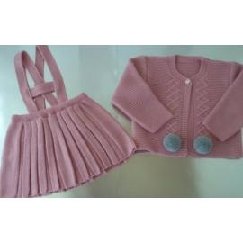 Conjunto falda plisada punto